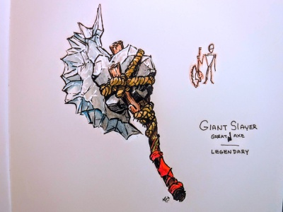 D&D Armory: Giant Slayer watercolor ink drawing dnd weapon axe dungeons and dragons dndarmory