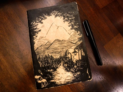 The Next Chapter lotr cs lewis tolkien woodsman mountains illustration ink journey cabin forest path cover art journal