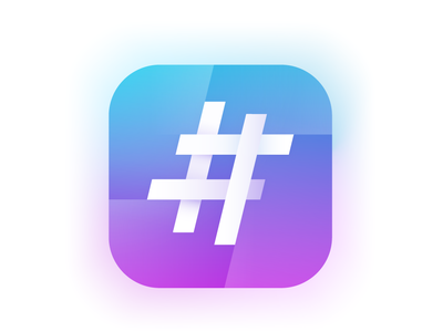Hashtag Generator app icon hashtag generator hashtag blue and pink ios icon