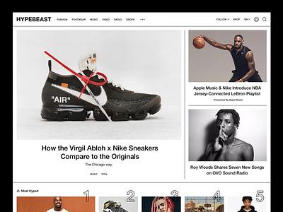 Hypebeast Homepage streetwear helvetica ux ui toronto lifestyle design fashion sneakers hypebeast