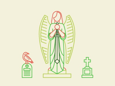 Cemetery headstone angel statue crow