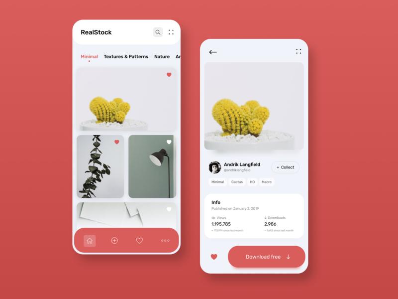 Photo stock app   Concept app design photostock photos app application interface ui design concept