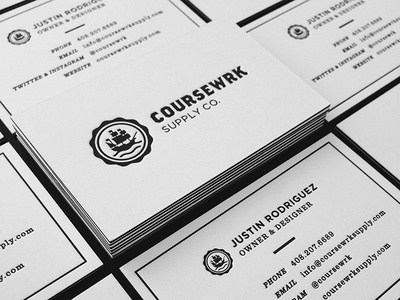 Coursewrk Business Cards business card print branding letterpress mamas sauce identity ship emblem clean simple fashion black and white