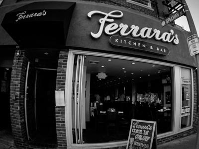 Ferrara's logo bar restaurant boston massachusetts cursive typography