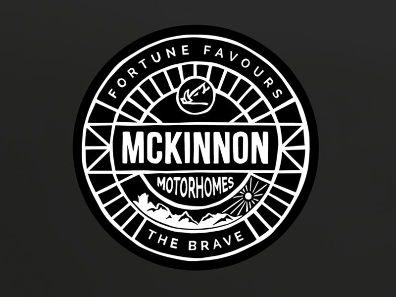 Brand for Mckinnon Motorhomes mobile home rv recreational vehicle camper caravan camping motorhome modern crest crest ipad pro hand drawn logo