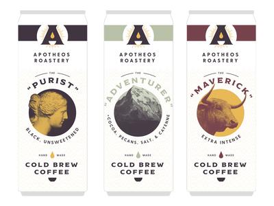Apotheos Roastery Unused Can Designs Pt. III can design can cold brew can cold brew coffee packaging design packaging branding