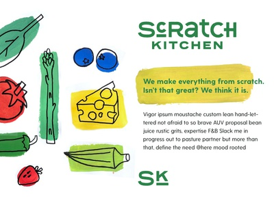 Scratch Kitchen Unused Brand Identity Pt. I fruits vegetables food green custom type type kitchen painterly paint visual system typography illustration brand identity identity design logo branding