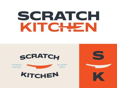 Scratch Kitchen Unused Brand Identity Pt. II restaurant logo knife wordmark logotype type red orange typography restaurant brand identity identity design logo branding