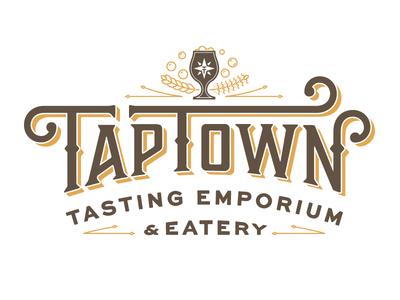 TapTown Final Logo + Visual identity brewery beer goblet custom typography food typography illustration brewpub restaurant brand identity design logo identity branding