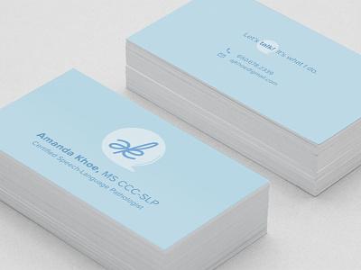 SLP Business Card ak monogram ak speech speech bubble business card speech pathology slp