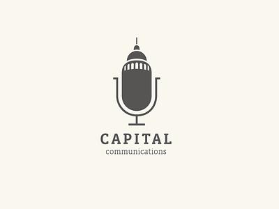 Capital Communications corporate logo logo communications speech capitol building microphone mic capitol capital