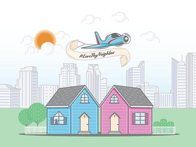 Love Thy Neighbor illustration 2d sacramento skyline sacramento skyline sun clouds ribbon airplane plane house neighbor
