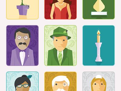 Clue Characters (3/3) vector art vector plum green illustration clue characters character design
