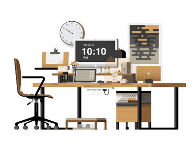 Dream Desk Setup_White illustrator desk illustration