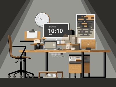 Dream Desk Setup_Dark illustrator desk illustraion