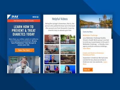 211 Diabetes layout landing page quizzes events statistics videos wellness health mobile website
