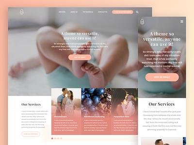 Homepage Design mobile slider peach pink ux ui wordpress website homepage clean simple health