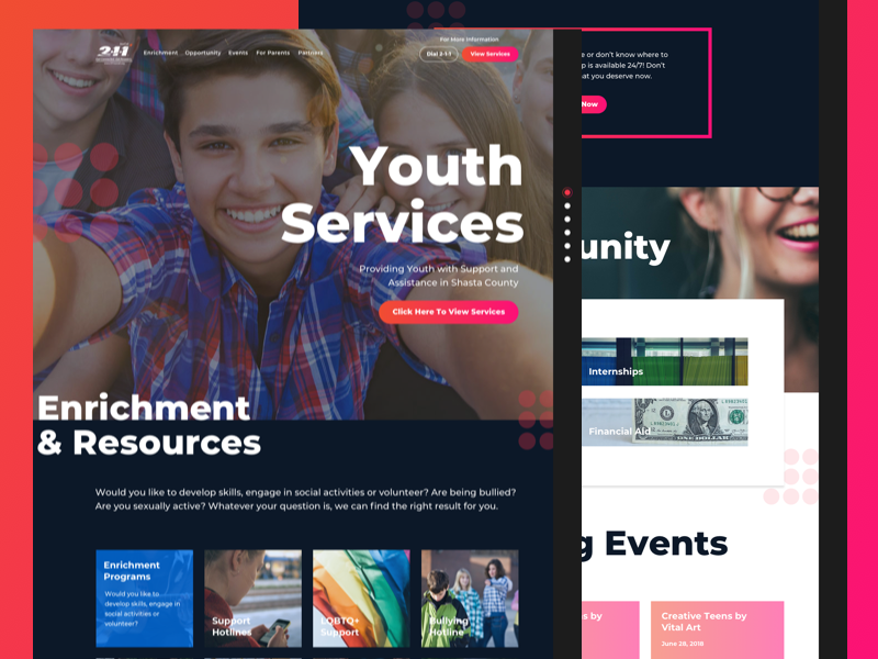 United Way 211 Norcal Youth Services big text teen children youth page color landing page ui web gradient bright colorful
