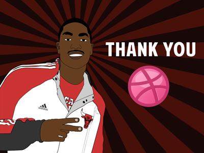 Derrick Rose thanks Dribbble welcoming thanks nba derrick rose basketball illustrator