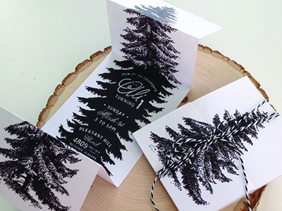 Accordion Fold Invites evergreen fold invitation invite woodland typography