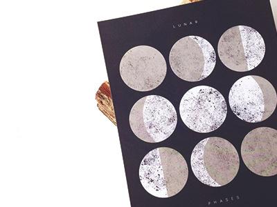 Lunar Phases Print lunar moon phases celestial print 8x10