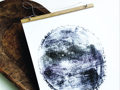 Tree Relief Ink Print ink stamp tree ring print wall-hanging