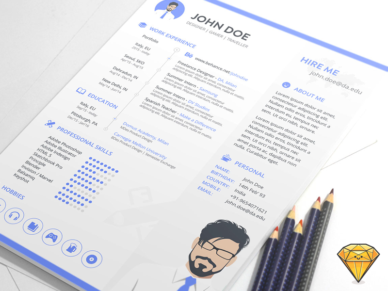 free sketch resume template - Resume Indesign Template