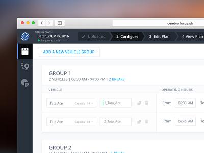 Vehicle Configure Screen dashboard ui ux web startup locus planning vehicle logistics