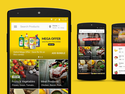 PepperTap Visual Merchandizing promo discounts offers startup groceries peppertap material design ui ux android mobile banner
