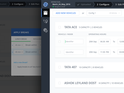 Added Vehicle State dashboard forms loading popups ui ux web startup locus planning vehicle logistics