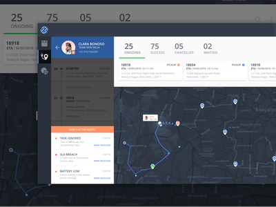 Rider Tour & Alert Screen overlay alerts ui ux dashboard web material map live view tracking logistics
