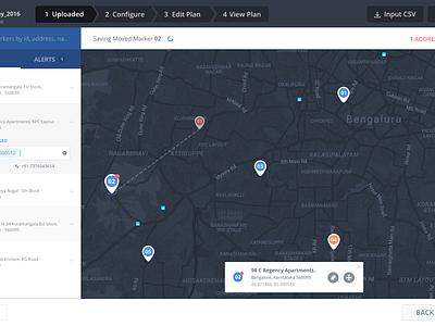 Geocoding Screen edits markers geocoding ui ux dashboard web startup locus planning map logistics