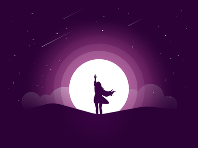 Reaching Out stars clouds sky art moon girl illustration