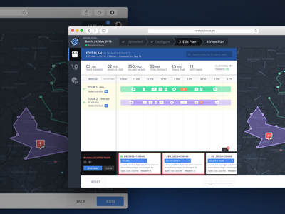 Locus : Edit Plan Screen timeline edits markers gant chart ui ux dashboard web startup planning map logistics