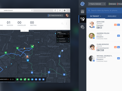 Route Compare date markers direction rider route ui ux dashboard material map tracking logistics