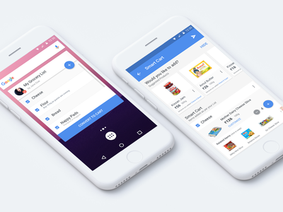 Smart Cart Widget shopping todo cards fab widget groceries peppertap material design ui ux android mobile