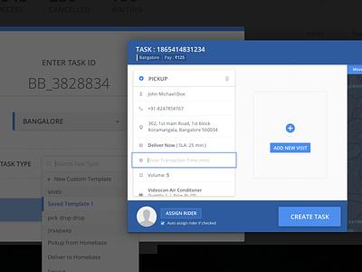 Create Task Screen ui ux dashboard web material map popup create form task tracking logistics