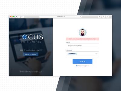 Locus SignIn Screen web ux ui error password sign up sign in login logistics locus form dashboard