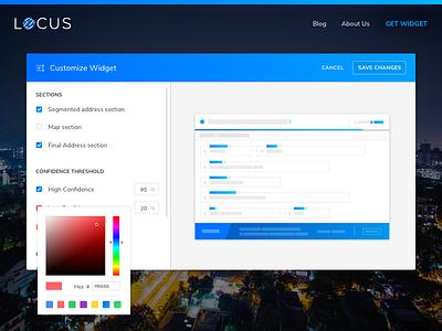 Customize Widget Screen form color picker settings customize geocoding ui ux dashboard web startup locus logistics