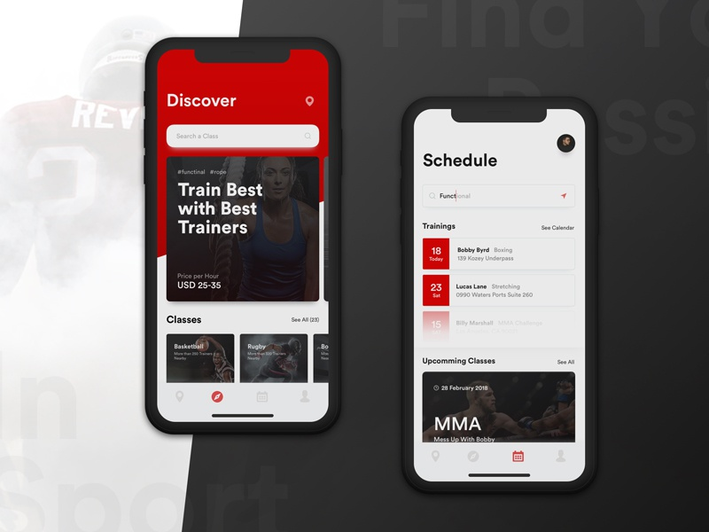 Trainers Society App black and red trendy minimalism fitness sport usability market research user research ux strategy ux design ui design ios application
