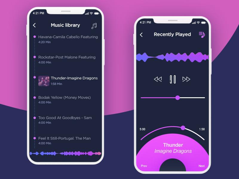 Music App Concept library volume player ux ui lover music app list