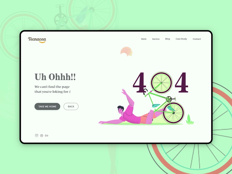 404 Error page not found runner cycle ux color minimal dribbble design 404 page ui 404