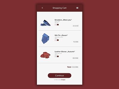 Daily UI   #058   Shopping Cart mobile web purchase ecommerce cart shopping app ux ui daily ui