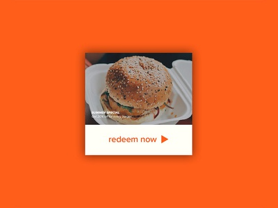 Daily UI   #061   Redeem Coupon pop-up card redeem coupon food burger minimal coupon app ux ui daily ui
