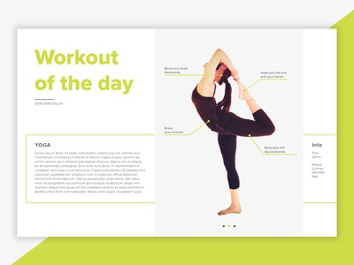 Daily UI   #062   Workout of the day card exercise fitness training challenge yoga workout app ux ui daily ui