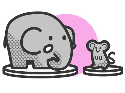 Icon (mouse and elephant) elephant mouse illustration icon picto