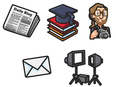 Icons  for a photographer's portfolio newspaper cartoon studio lightings photographer books learning icons