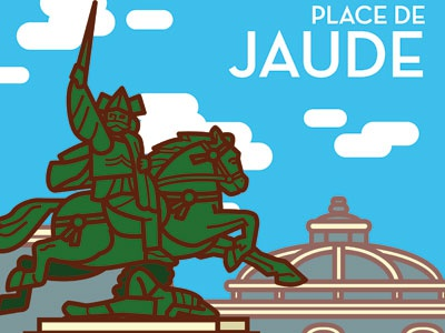Poster Clermont-Ferrand Place de Jaude illustration illustrator vectorial vecto poster