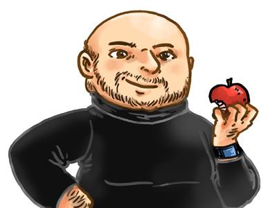 Apple-boy apple mac friend bald man illustration