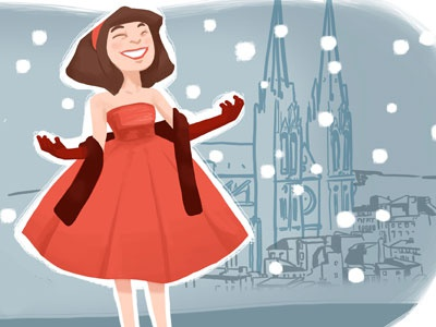 Happy New Year! girl red greeting card happy new year snow church cathedral